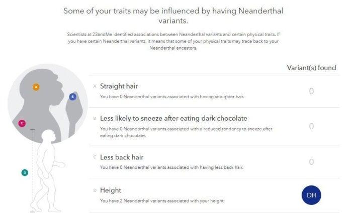 23andme neanderthal variants