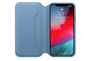 apple iphone x leather folio case blue