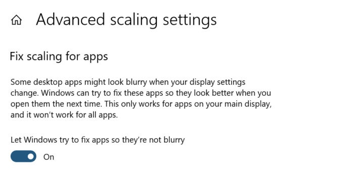 Windows 10 19H1 blurry apps