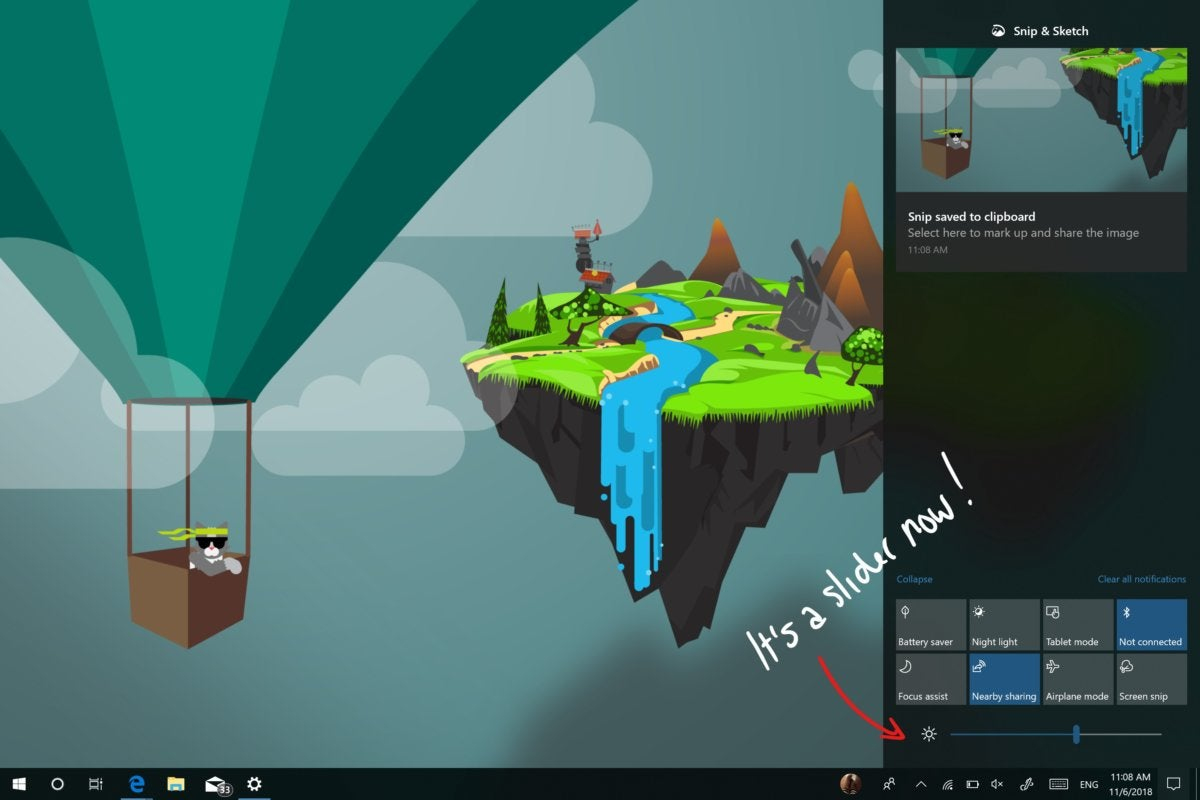 Windows 10 19H1 brightness slider