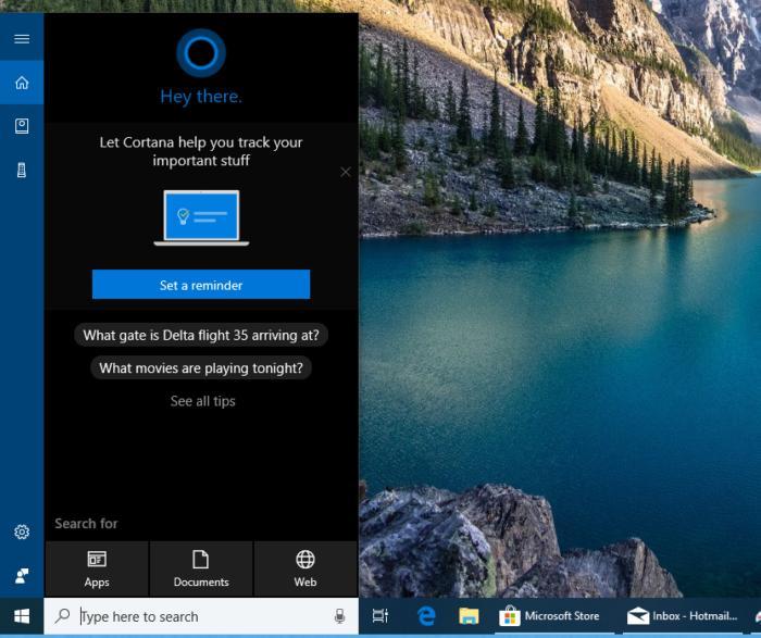 Windows 10 personalization cortana