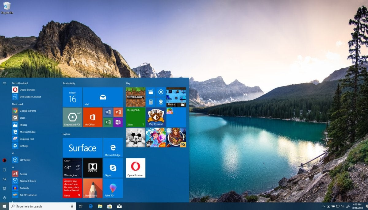 Windows 10 personalization desktop