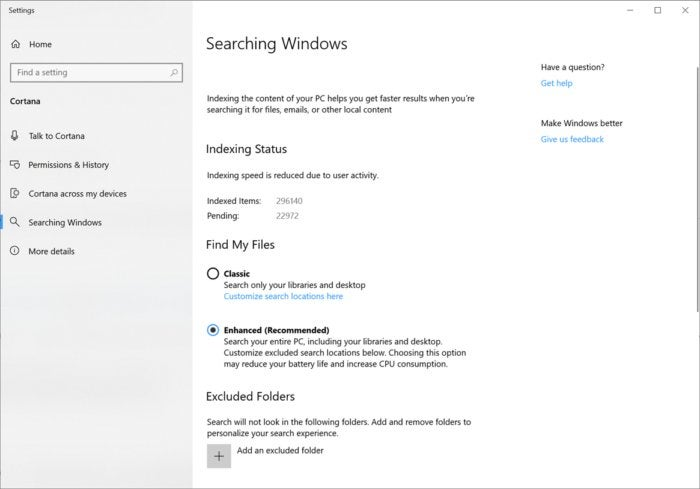 Microsoft Windows 10 19H1 enhanced mode for search indexer