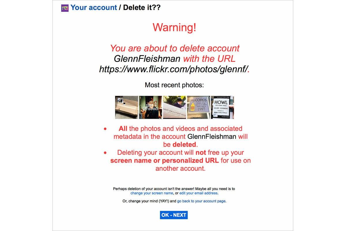 flickr delete account warning