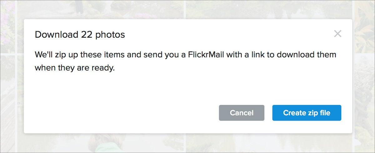 flickr download message email