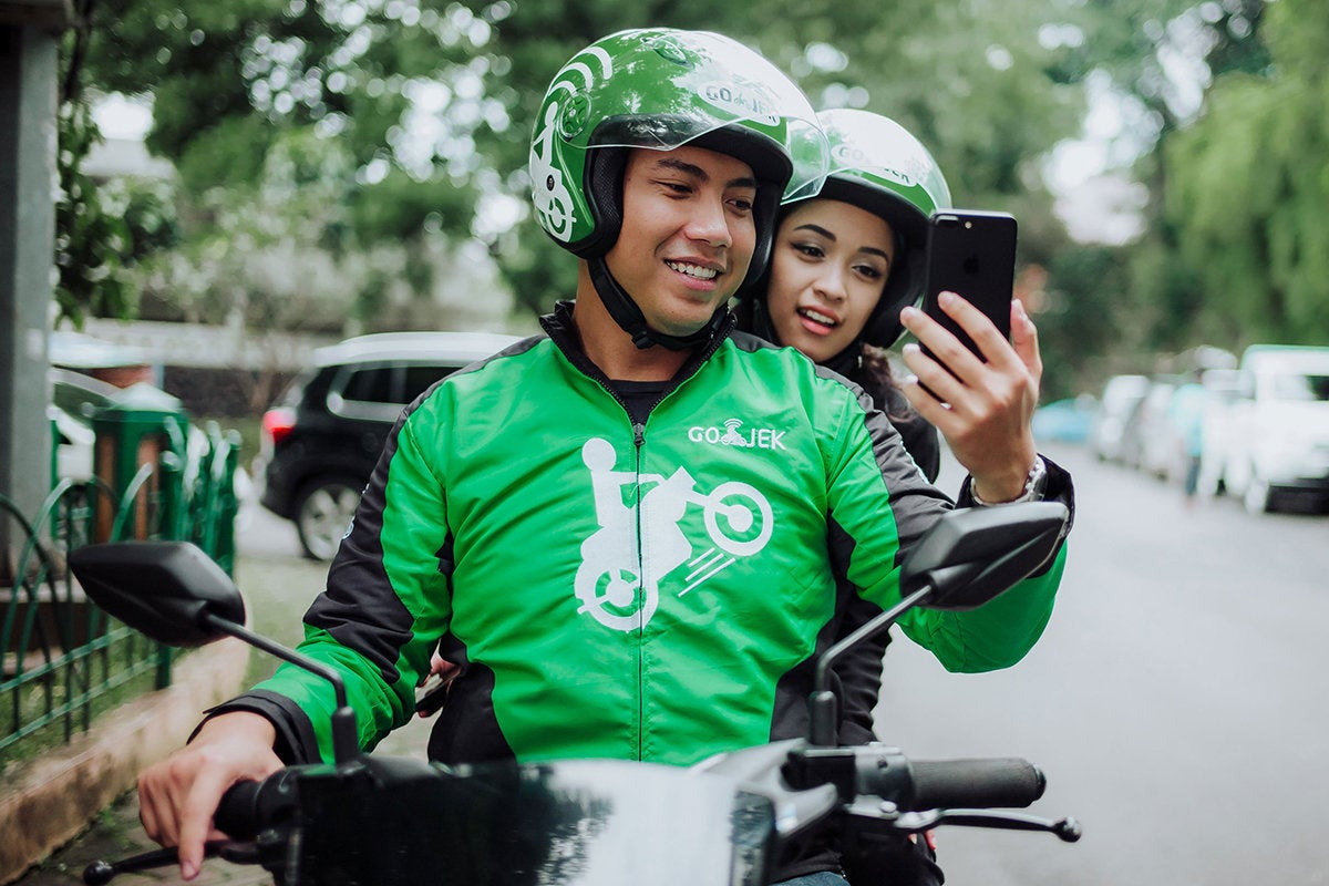 GO-JEK > Indonesia > Motorcycle ride-hailing phone service