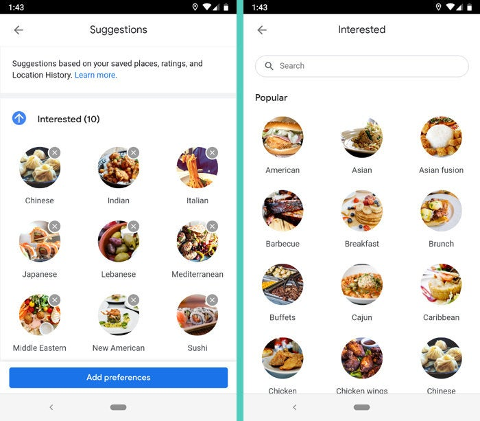 Google Maps Android Restaurant Suggestions