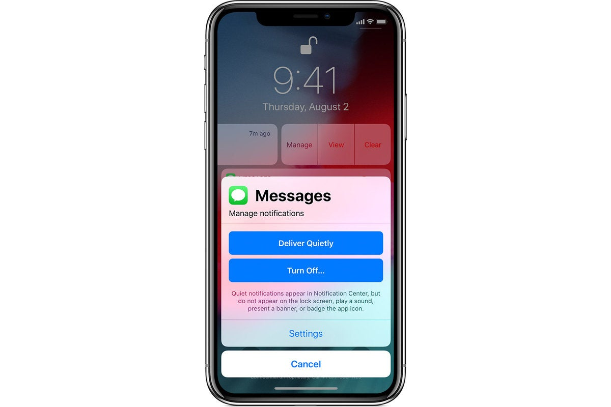 ios12 iphone x lock screen manage messages notifications