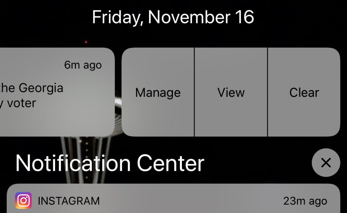 mac911 notification lock screen swipe manage