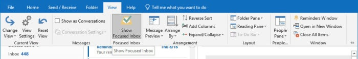 outlook 2019 focused inbox