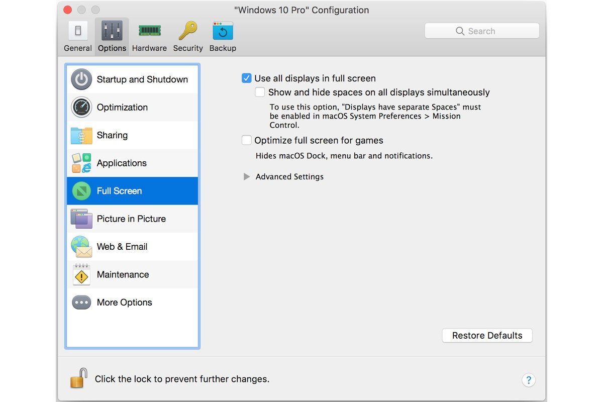 parallels desktop 14 windows full screen settings