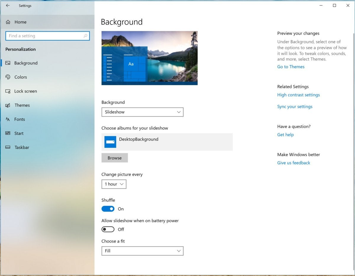 Windows 10 personalization background