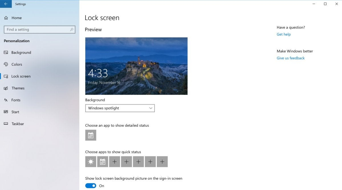 Windows 10 personalization lock screen