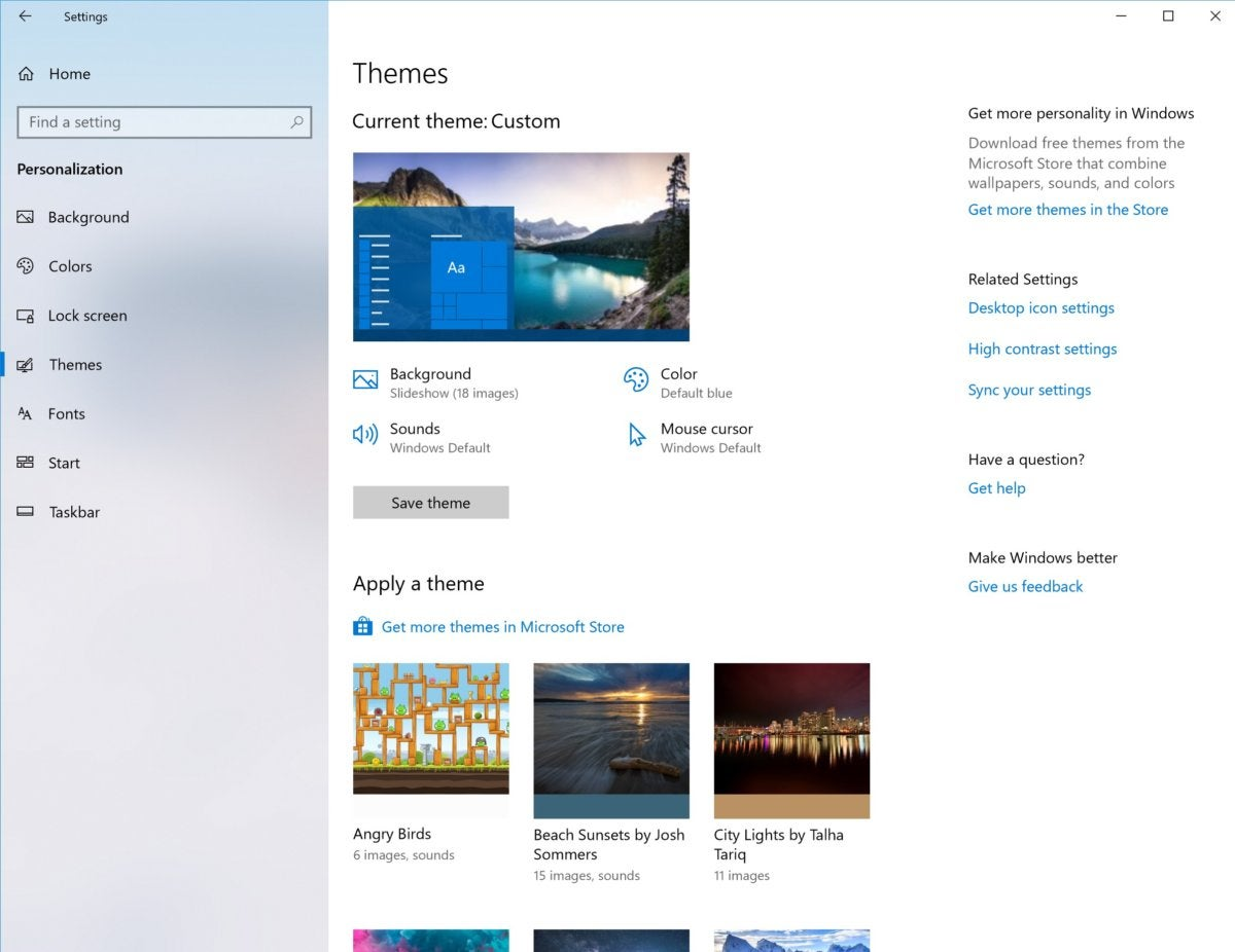 Windows 10 personalization designs