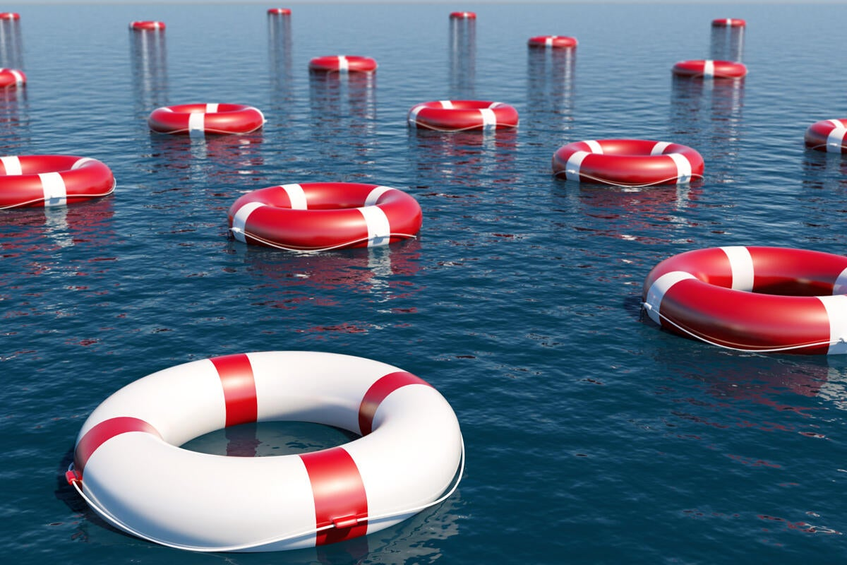 red buoys floating in the ocean unique life preservers safety risk float
