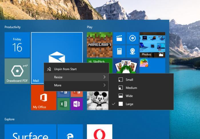 Windows 10 customization customization tiles begin