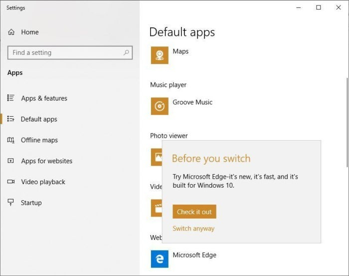 win10 replace edge browser before switch popup 1809
