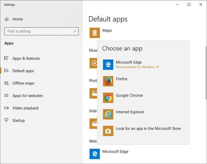 win10 replace edge browser choose app popup 1809