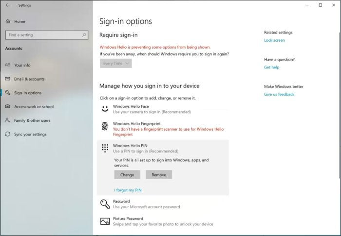 Microsoft Windows 10 19H1 windows hello settings