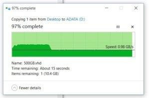 adata slowdown to about 1gbps