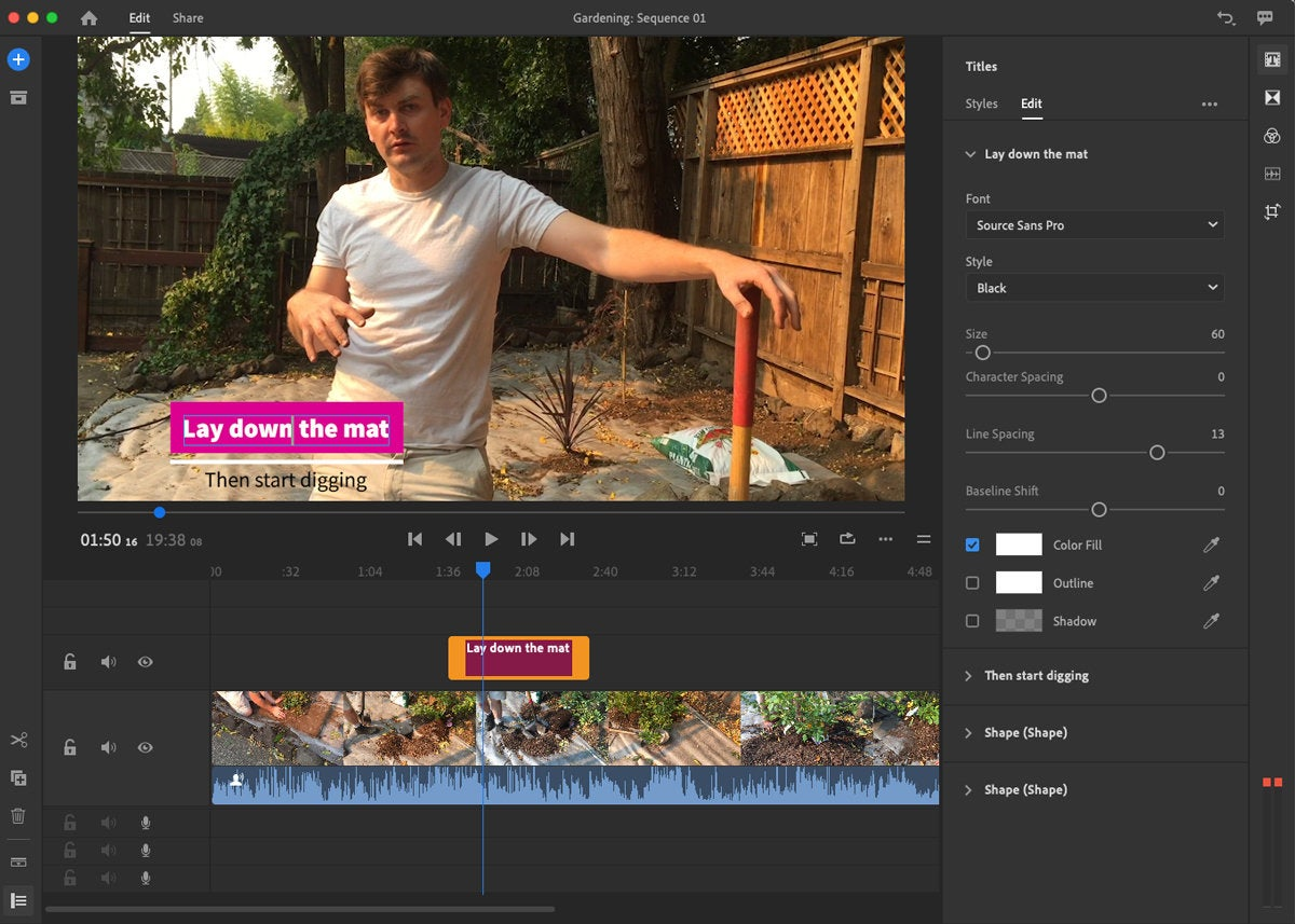 adobe premiere rush 2018 edit titles