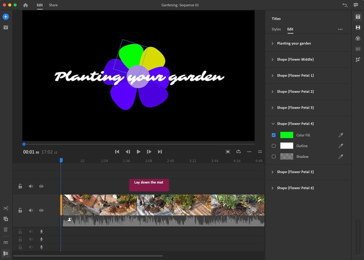 adobe premiere rush 2018 editing motion titles