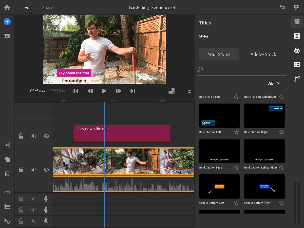adobe premiere rush 2018 ipad interface