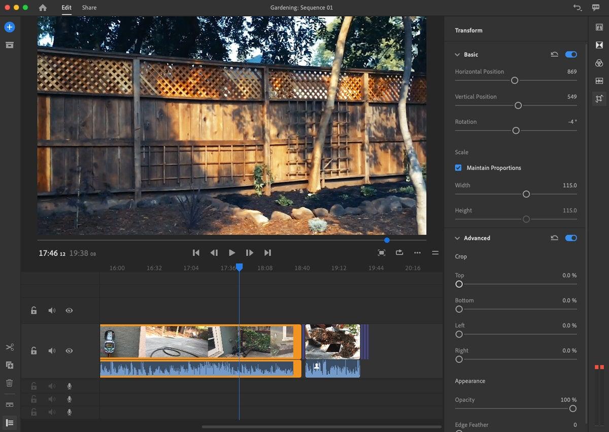adobe premiere rush 2018 video adjustments