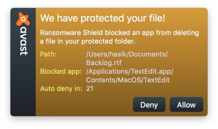 avast ransomware popup