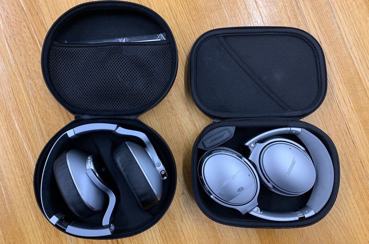 The AKG N700NC (left) fold into their molded case but take up a slightly larger footprint than the B