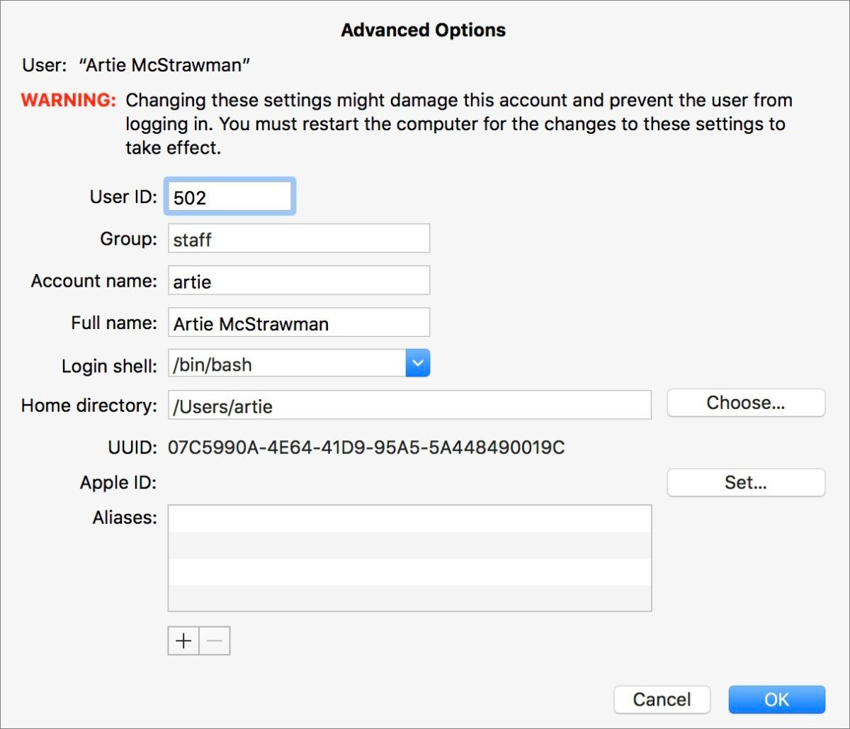 mac911 choose other home directory
