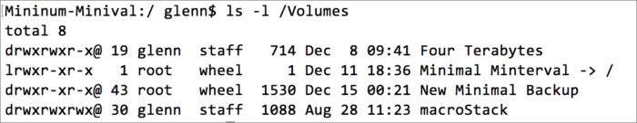 mac911 list terminal volumes dir