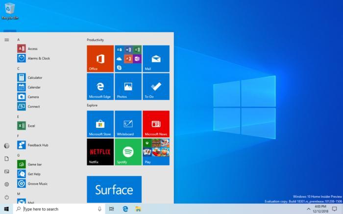Microsoft Windows 10 insider Build 18305 new start