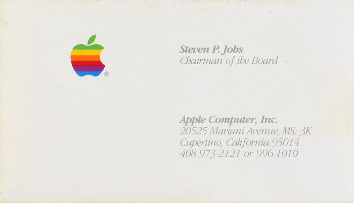steve jobs business card