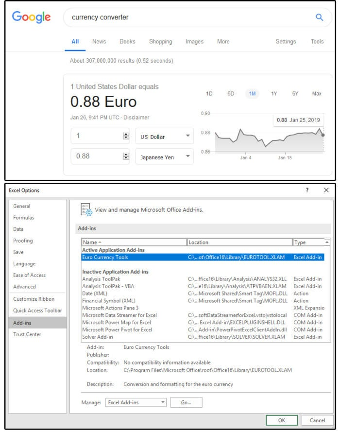 0001 google currency converter then install excels euro currency tool
