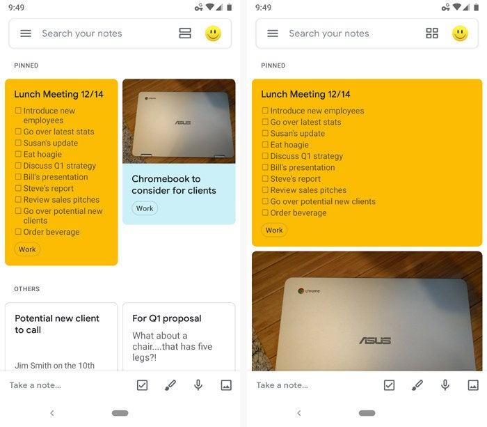 google keep android views