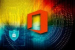Microsoft Office logo within an environment of abstract binary code with shield and lock.