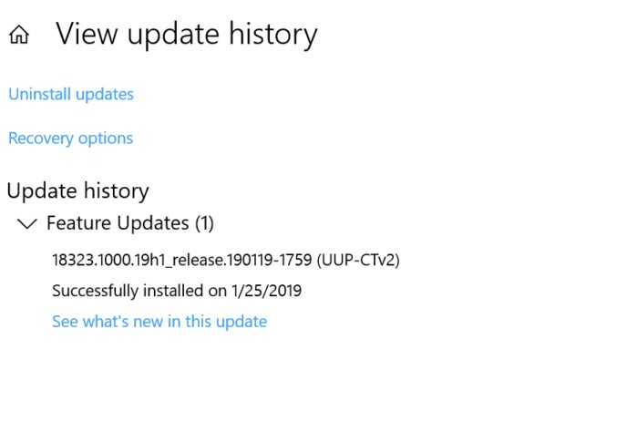 windows 10 build 18323 history
