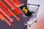 mobile phone in shopping cart displays dollar sign amid decreasing graphical arrows