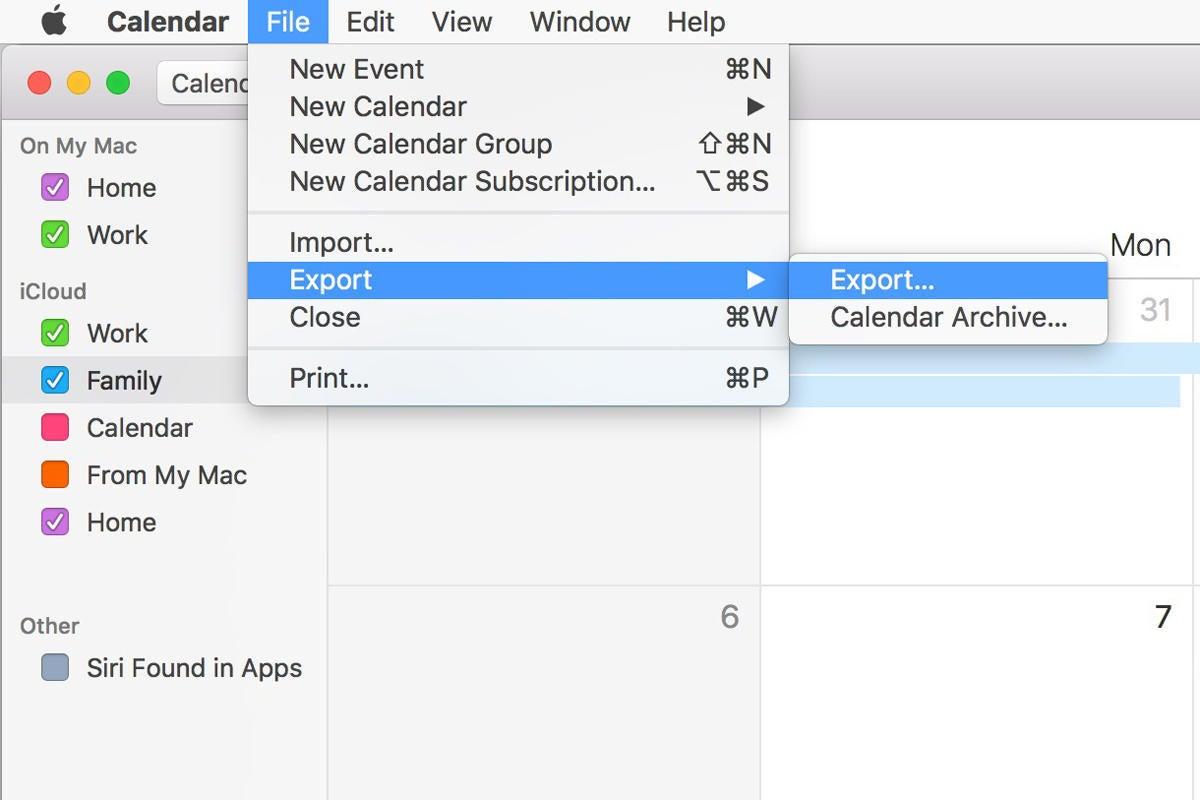 macos mojave calendar export