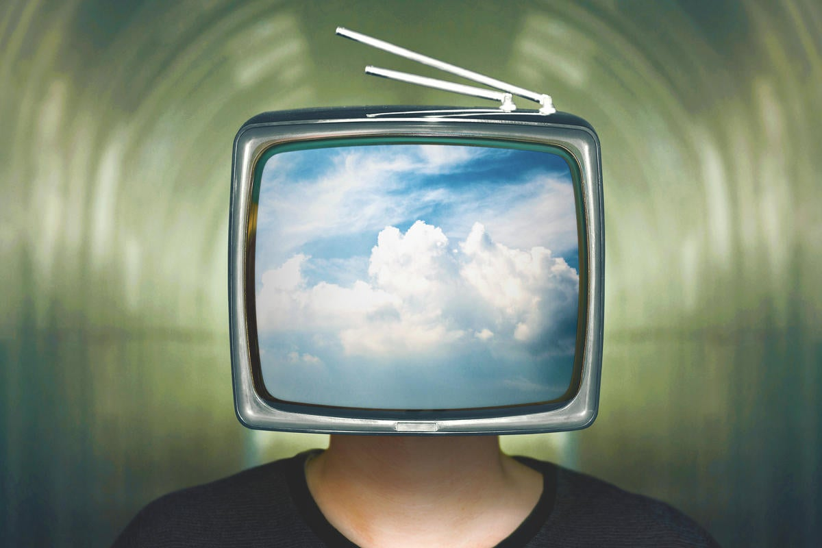 run head in clouds cloud computing retro tv head media