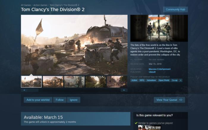 An Epic defection? The Division 2 won\u0027t release on Steam | PCWorld