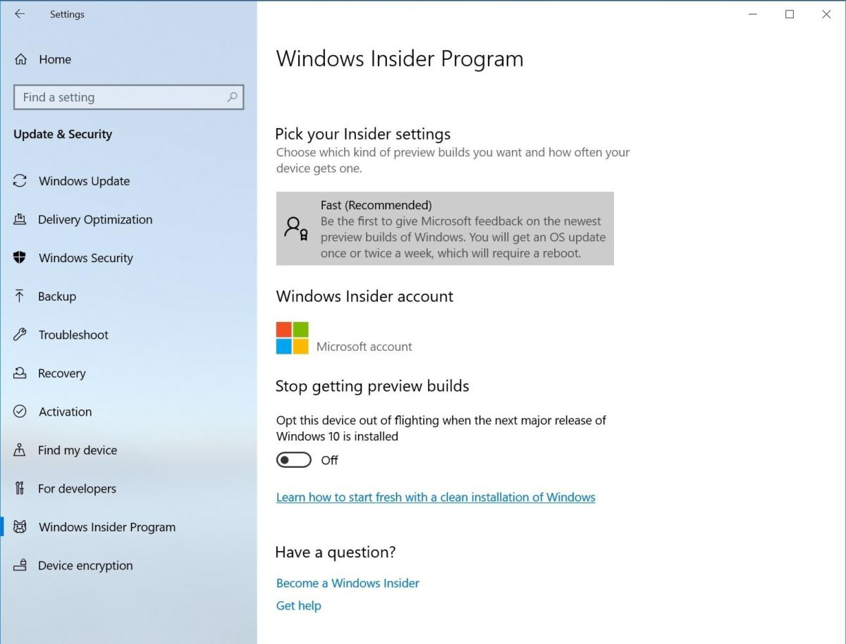 simplified windows insider page