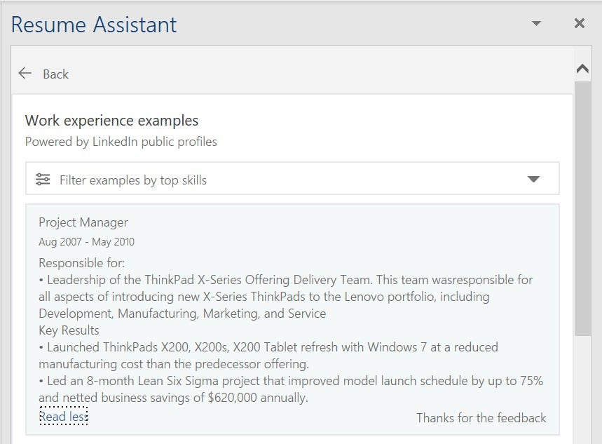 how to use microsoft word u0026 39 s resume assistant to look for a new job    on linkedin