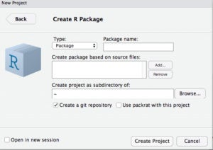 Dialog for creating a new package in RStudio