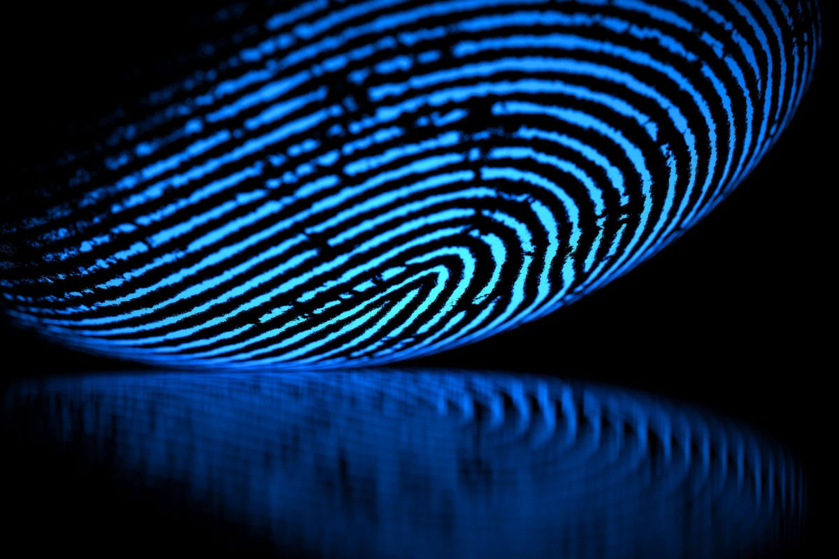 Biometric fingerprint scanning.