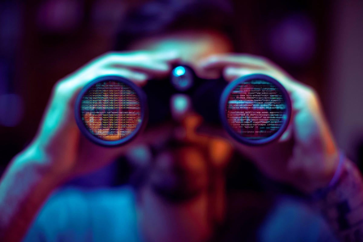 Data viewed secretively with binoculars.