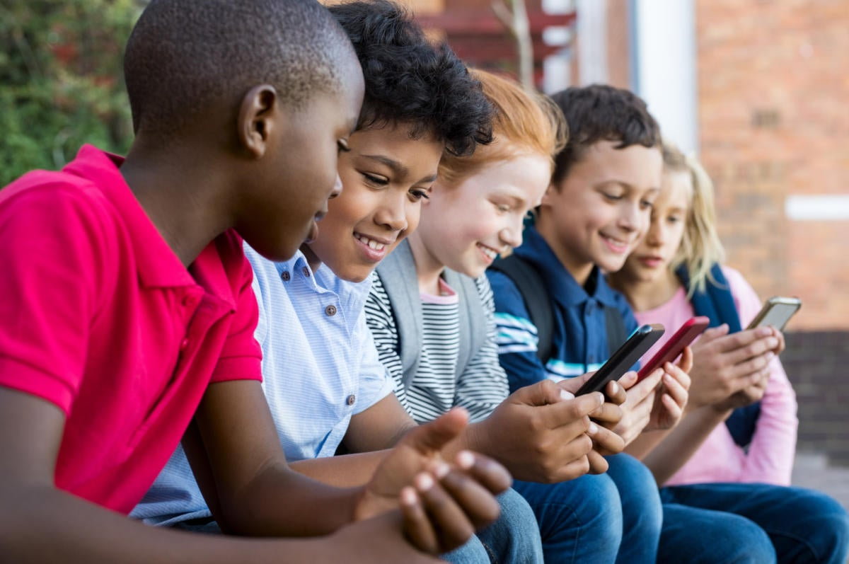 diversity young kids phone mobile