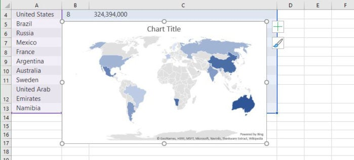 excel 2016 2019 map chart