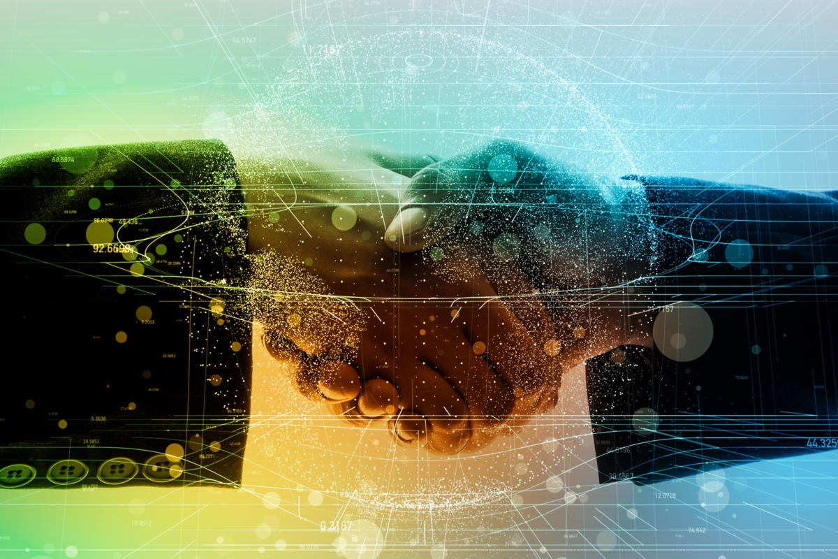 Handshake amid abstract connections and data.